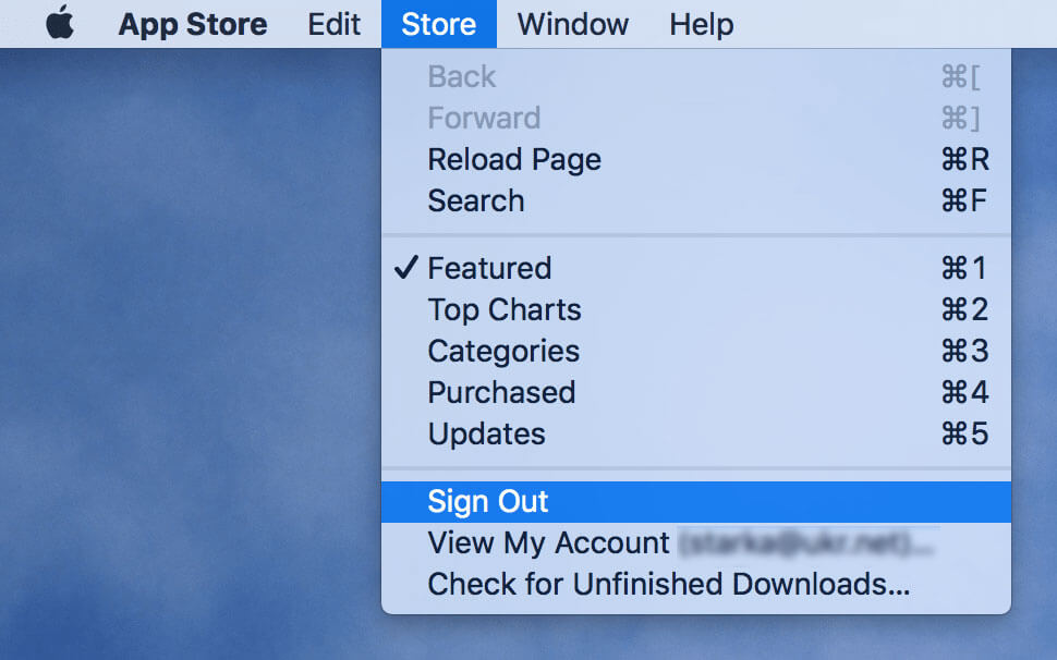 app store - sign out